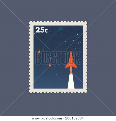 Retro Postage Space Stamp. Vintage Soviet Style Stamp With Flying Rockets. Flat Style Modern Vector
