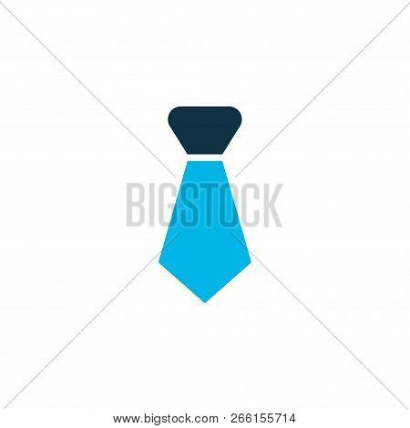 Tie Icon Colored Symbol. Premium Quality Isolated Cravat Element In Trendy Style.