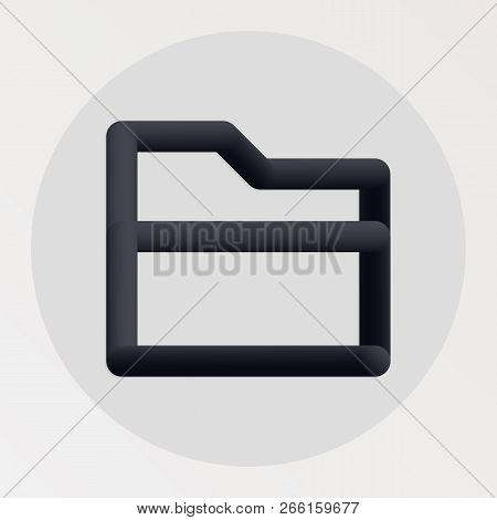 Folder Blended Bold Black Line Icon. Vector Illustration Of Folder Shape Fluid Pictogram In A Circle