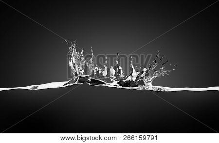 Blank Water Splash In Motion Mock Up, On Black Background, 3d Rendering. Empty Translucent Aqua Surf