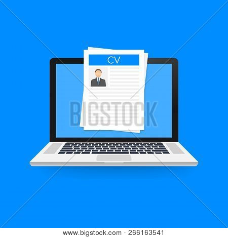 Cv Resume. Job Interview Concept. Writing A Resume. Laptop With Personal Resume. Vector Stock Illust