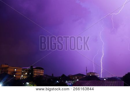 Thunder Thunder In The Rainy Season And The Stormy Storm.thunder Storm Lightning Shooting During The