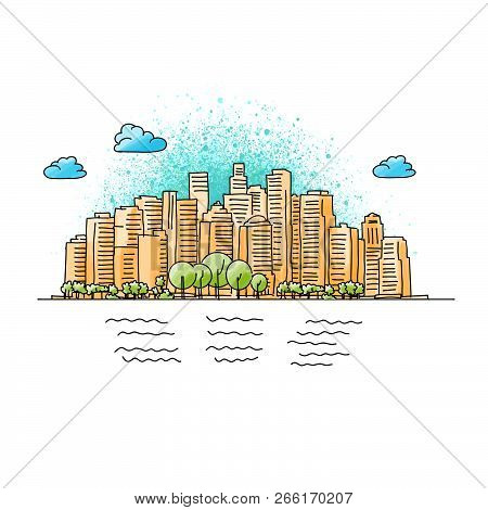 Hand Drawn And Colored Generic City Skyline. Vector Illustration.