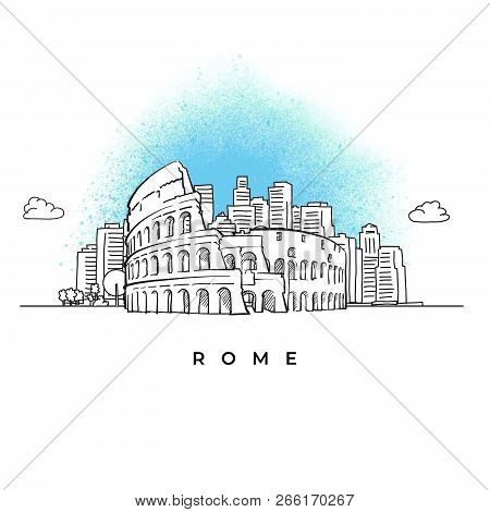 City Skyline With Coliseum In Rome. Hand Drawn Vector Illustration.