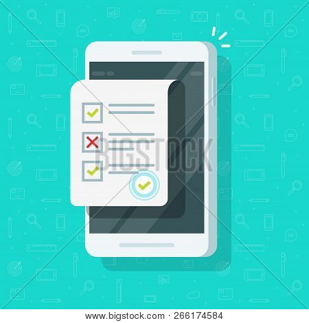 Online Form Survey On Smartphone Vector Illustration, Flat Mobile Phone With Quiz Exam Sheet Documen