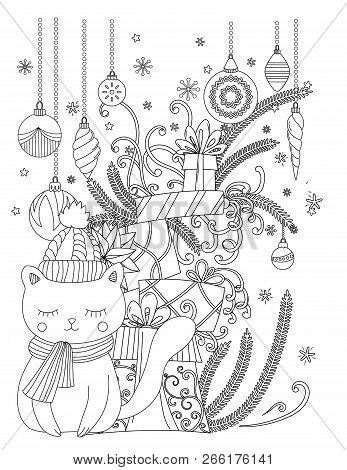 Christmas Coloring Page For Kids And Adults. Cute Cat With Scarf And Knitted Cap. Pile Of Holiday Pr