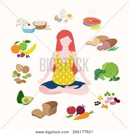 Pregnant Woman Doing Yoga In Lotus Position Cute Cartoon Character Isolated On Light Background. Hea