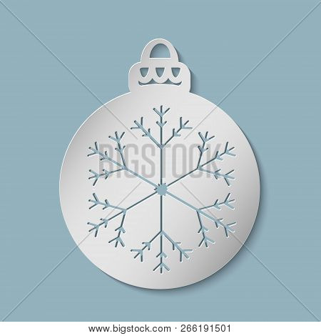 Christmas Ball With A Snowflake Cut Out Of Paper. Template For Christmas Cards, Invitations For Chri