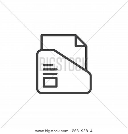 File Folder Outline Icon. Linear Style Sign For Mobile Concept And Web Design. Folder With Paper Doc