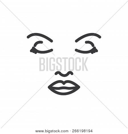 Face Woman Vector Icon On White Background. Face Woman Icon In Modern Design Style. Face Woman Vecto