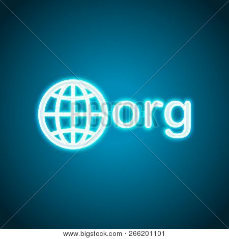 One Of First Domains For Non-profit Organization, Globe And Org. Neon Style. Light Decoration Icon.