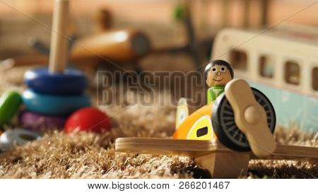 Colorful Baby Wood Toys On Light Brown Color Carpet