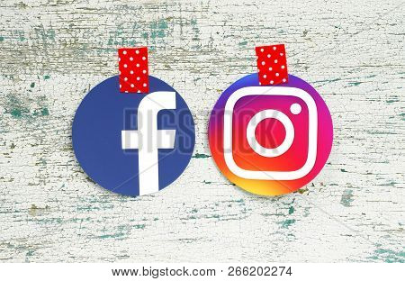 Kiev, Ukraine - September 27, 2018: Facebook And Instagram Round Icons Printed On Paper And Taped Wi