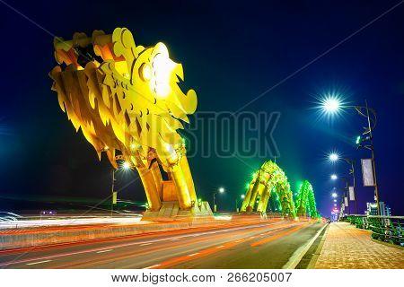 Da Nang, Vietnam - September 30: The Dragon Bridge (cau Rong) With Yellow-colored Illumination At Ni