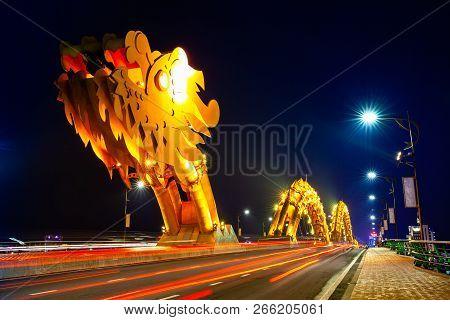 Da Nang, Vietnam - September 30: The Dragon Bridge (cau Rong) With Orange-colored Illumination At Ni