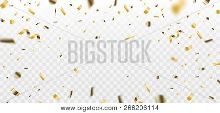 Confetti. Golden Falling Confetti Glitters. Isolated On White. Colorful Bright Confetti. Vector Illu