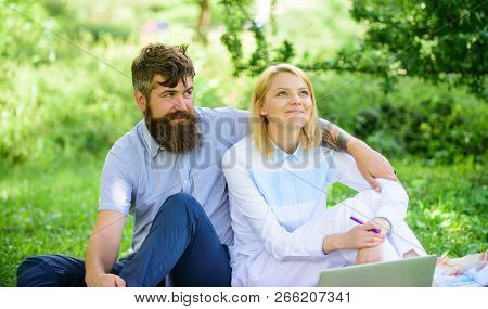 How To Balance Freelance And Family Life. Couple In Love Or Family Work Freelance. Modern Online Bus