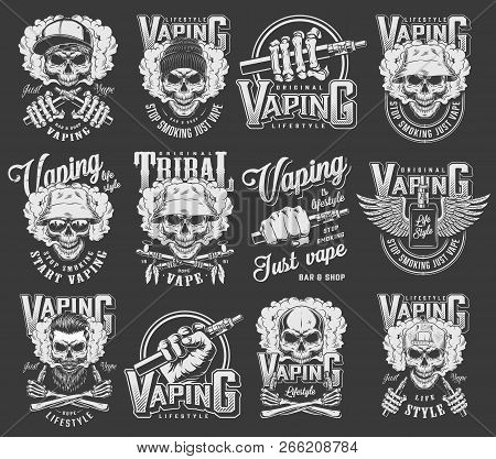 Vintage Vaping Logotypes Collection With Skulls Wearing Panama Hipster Hats Baseball Cap Crossed Smo