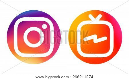 Kiev, Ukraine - October 09, 2018: Instagram And Instagram Tv (igtv) Icons Printed On White Paper