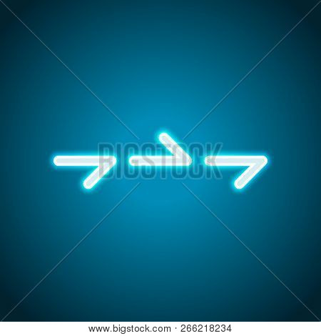 Few Arrows, Same Direction. Linear, Thin Outline. Neon Style. Light Decoration Icon. Bright Electric