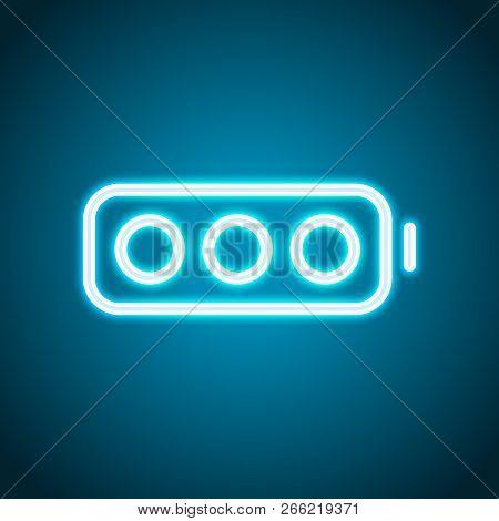 Simple Empty Battery, None Level. Neon Style. Light Decoration Icon. Bright Electric Symbol