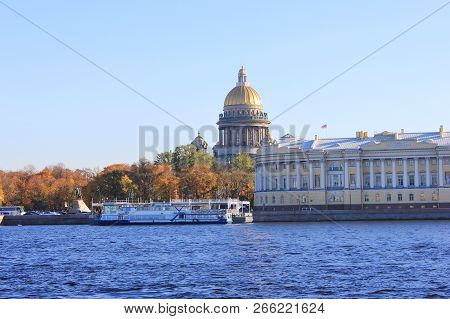 St. Petersburg City Panorama With Historic Majestic Cathedral And Historical Old Buildings Architect