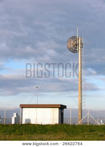 Station of transmitter with parabolic antenna
