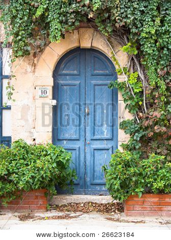 picturesque door of a home covered by plants