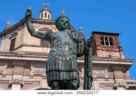 Milan, Italy - 09 May 2018: Monument To Roman Emperor Constantine I In Milan, In Front Of San Lorenz