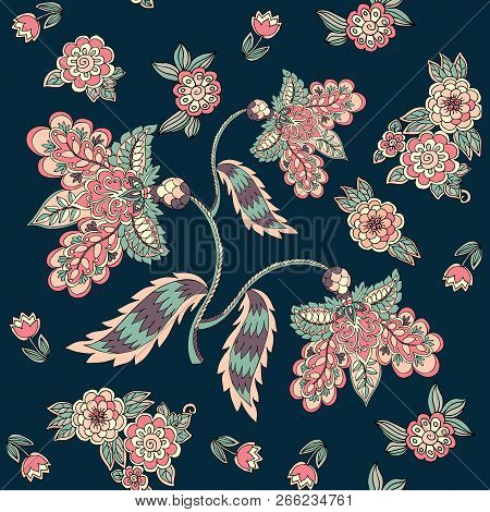 Seamless Pattern With Magic Flowers On Dark Background. Print For Fabric, Template For Pillowcase. V