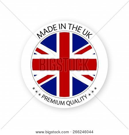 Modern Vector Made In The Uk Label Isolated On White Background, Simple Sticker With British Colors,