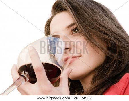 a beautiful woman smell a red glass wine poster