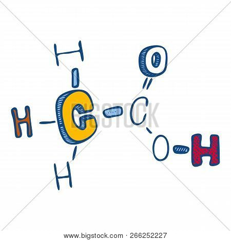 Acetic Acid Icon. Hand Drawn Illustration Of Acetic Acid Vector Icon For Web Design