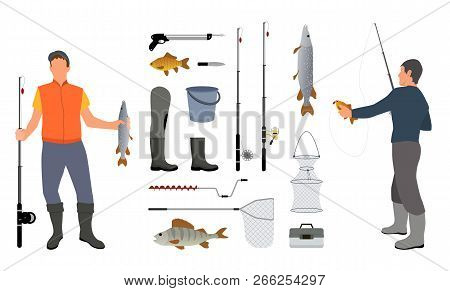 Successful Fishers Holding Haul And Fishing Tools Colorful Vector Illustration Of Different Equipmen