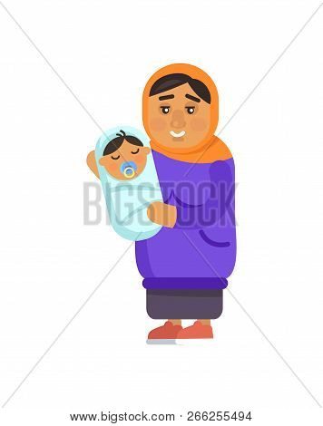 Muslim Grandmother Holding Sleeping Kid With Comforter In Its Mouth, Refugee Woman With Newborn Chil