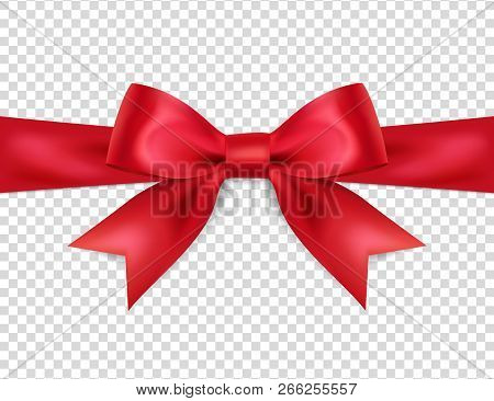 Beautiful Red Bow Isolated On Transparent Background, Satin Bow For Gift, Surprise, Christmas Presen
