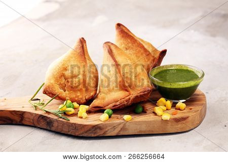 Vegetarian Samsa Or Samosas.indian Special Traditional Street Food Punjabi Samosa Or Coxinha, Croque