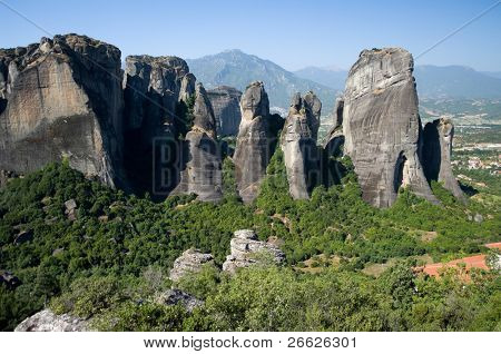 pinnacles of rocks in Meteora, Greece
