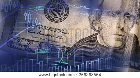 Finance Background With Money And With Stock Chart. Finance Concept. Money On The Background Of The