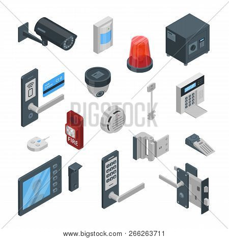 Home Security Systems Vector 3d Isometric Icons And Design Elements. Smart Technologies, Safety Hous