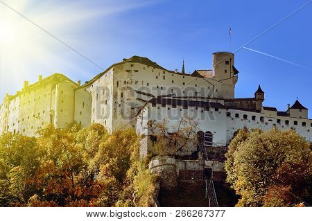 Beautiful View Of Salzburg With Festung Hohensalzburg On Sunny Day With Bright Morning Sun Light, Sa