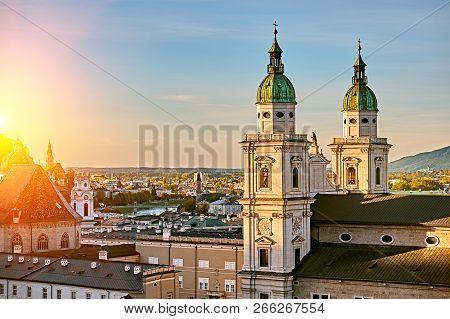 Beautiful Sunset View Of Salzburg Cathedral (dom Zu Salzburg) At Residenzplatz Square In Summer In S
