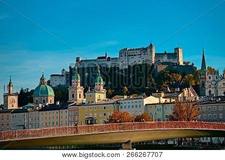 Beautiful View On Salzburg Skyline With Festung Hohensalzburg In The Summer, Salzburg, Austria.