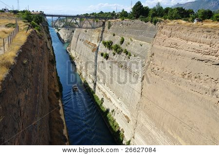 Ship crossing Corinth canal in Greece