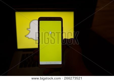 Tula, Russia - October 31, 2018: - Snapchat Application On Android Cell Smartphone. Snapchat Is A Mo