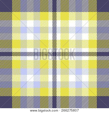 Madras Plaid Pattern In Yellow, Blue, White And Indigo. Seamless Fabric Texture.