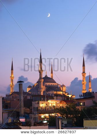 Aya Sofya mosque and the arabian moon at the twilight in Istanbul, Turkey