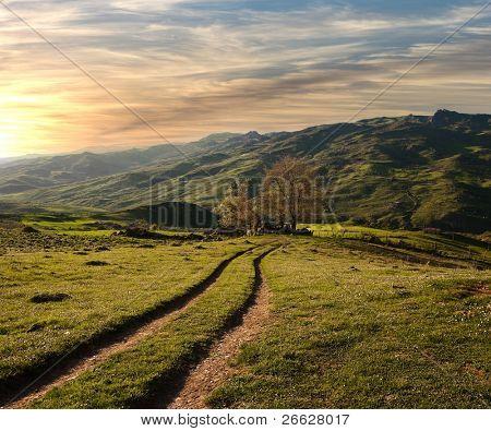 Landstraße überquert das grüne Tal in den Sonnenuntergang