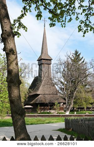 wooden country church in the Village museum in Bucharest, Romania