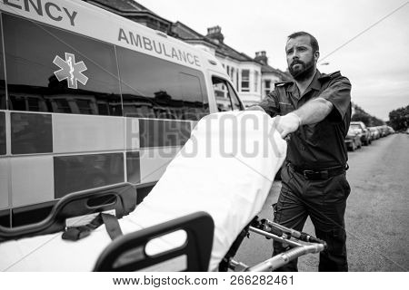 Male paramedic moving the ambulance stretcher poster